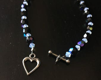 Swarovsky crystal and glass beaded bracelet with heart toggle