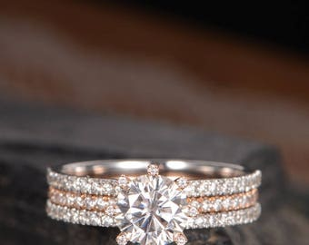 Moissanite Engagement Ring Rose Gold Diamond Eternity Ring Wedding Band Women White Gold Cage Solitaire Double Unique Anniversary Promise