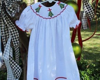 Girls' White Bishop Dress with Smocked Christmas Tree