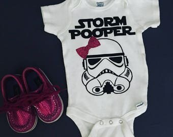 Storm Pooper Onesie With The Dark Side & Optional Matching Glitter Bow Headband