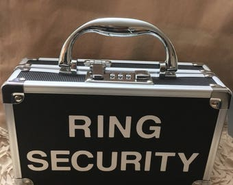 RING SECURITY CASE with Keyless Combination Lock, for Wedding or Safekeeping Valuables, Bling Security, Ring Bearer Box (Black or Blue)