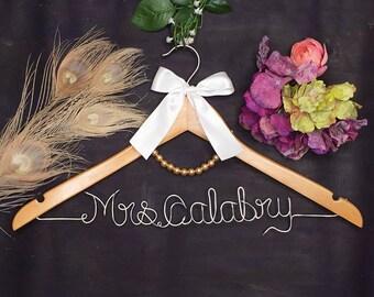 Personalized Wedding Hanger, Bridal Hanger, Custom Wire Name Wedding Dress Hanger, Mother of the Bride Dress Hanger, Bridesmaid Dress Hanger
