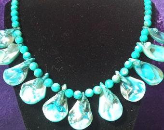 Aqua Shell Necklace, Handmade