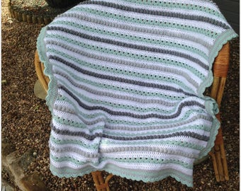 Hand crocheted baby blanket or lap blanket, large size, white, grey and duck egg blue, ideal baby shower gift. unique, immediate shipping