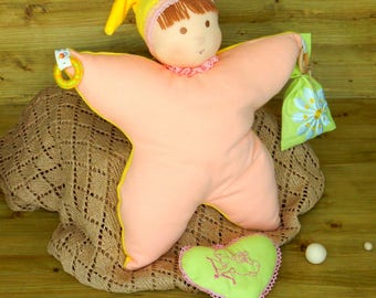 Waldorf Toy Easter gift Rag Doll with Aromatic Sachet Soft Ragdoll Doll With Chocolate Hair Gnome Role Play Waldorf doll baby Steiner Doll