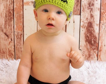 Crochet Frankenstein Hat, Halloween Photo Prop, Frankenstein Costume, Infant Hat, Toddler Hat