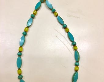 Necklace:   Turquoise and Mustard Glass Beads with turquoise spacers