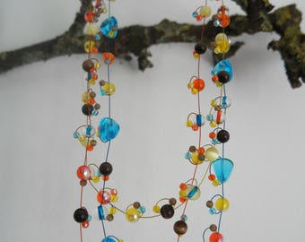 Colorful necklace short with glassbeads