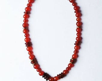 Chinese Zodiac carved agate TIGER necklace