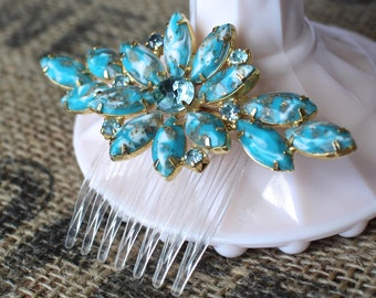 Vintage Turquoise Hair Comb