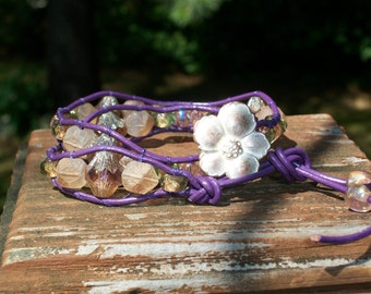 Purple & Pink Double Wrap Glass Bracelet