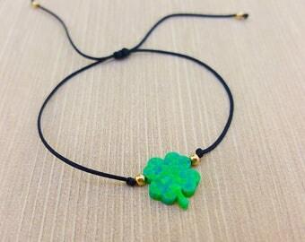 Bracelet or Choker. Clover Opal, green opal, red string, black string, adjustable, braided, Kabbalah, luck, silver, gold, opal