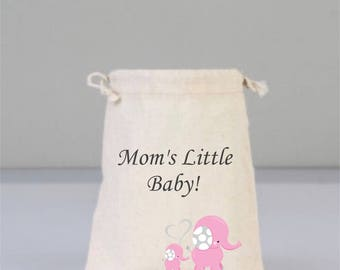 Pink Elephant Baby Shower Pouch, Natural Pouch, Baby Shower Decorations, Baby Shower Party Bag, Baby Favor Bags, Girl Cotton Baby Shower Bag