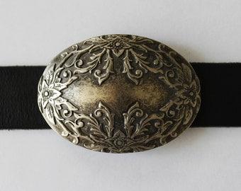 Old Silver Floral Belt Buckle Vintage Belt Buckle