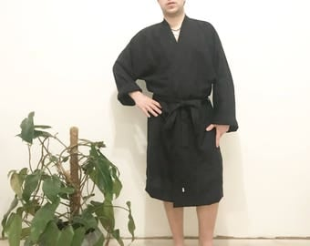 Black Linen robe, linen bathrobe,white dressing gown, morning gown, night gown stonewashed softened linen robe, pink blue green eco friendly