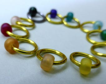 Hand made stitch markers, set of 11, Frosted Rainbow