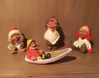 4 Vintage Henning Norwegian Hand-Carved Figurines