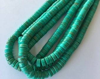 "8mm Dyed Synthetic Turquoise Heishi Beads (Cyan) - 110 pieces / 15.5"" strand"
