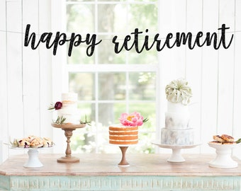 Happy Retirement Banner | gold glitter banner | retirement party | retirement | celerations | funny banner | custom banner