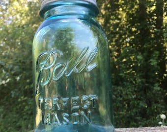 Vintage Blue Mason Jar