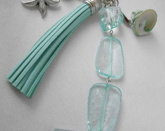 Seashell turquoise bead and tassel bag charm, key turquoise, purse charm, bag accessory, starfish jewelry, tassel