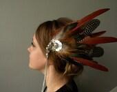 Pince Longues Plumes Coiffe Pagan shaman costume médiéval fantastique tribalfusion spectcale unique