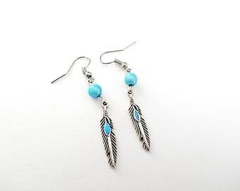 Fancy feathers beads earrings