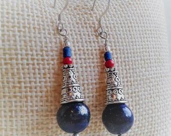 Lapis Lazuli coral - Nepal Tibet - jewelry ethnic style earrings