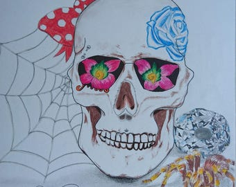 Drawing. Colorful skull skull