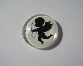 Cabochon 20 mm with an Angel and pink and white polka dots pattern