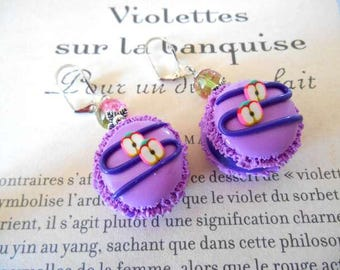 Polymer clay purple macaron earrings.