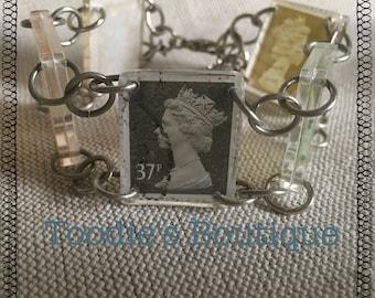 Vintage resin stamp bracelet