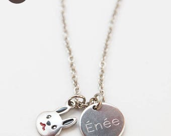 """Child's personalized with engraved Medal """"Cabbage"""" necklace"""