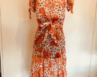 30s Chiffon floral dress