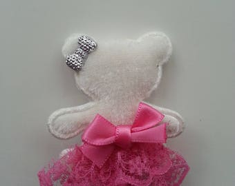 Lace Tutu Teddy bear Barrette pink and Silver Bow