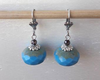Blue Czech glass Pearl Earrings