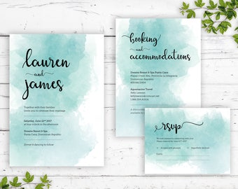 Watercolor Wedding Invitation Set | Printable