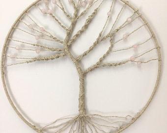 Round tree of life macrame and beads rose quartz, wall decor, 30 cm diameter
