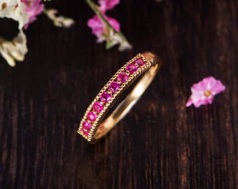 Ruby Band Antique Wedding Band Women Birthstone Ring Eternity Beaded Retro Stacking Delicate Anniversary Promise Engraving Band Gift For Her