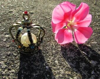 Princess and rhinestones approx bronze Crown pendant: 40 x 33 mm
