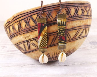 Ethnic cowry and African fabric earrings