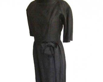 S M 50s 2pc Suit Dress Set Jacket Wiggle Sheath Cocktail Bombshell Mid Century Black LBD Little Black Dress Small Medium