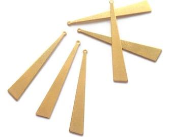 x 6 long 44mm raw brass - HD - OO2 triangle pendant
