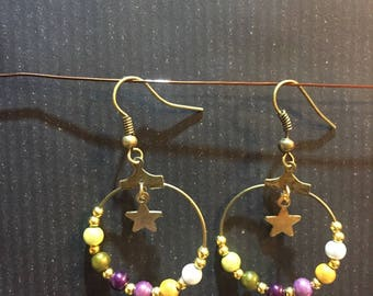 BOHEMIAN hoop earrings with star