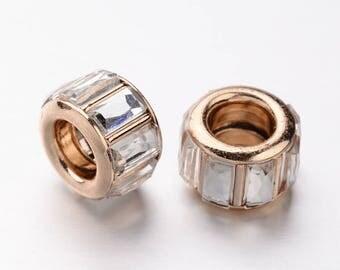 1 Perle European gold and rhinestones 10 x 7 mm