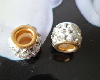 2 beads/Charms clear rhinestones and gold 10 X 8 mm