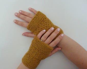 Women knitted woolen mittens