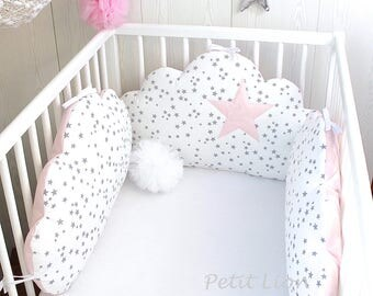 Baby cot bumpers for 70cm wide bed, 3 cloud cushions or pillows, pale pink, white and grey
