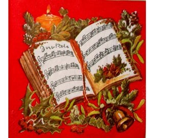 Set of 3 napkins NOE103 book of song and bells