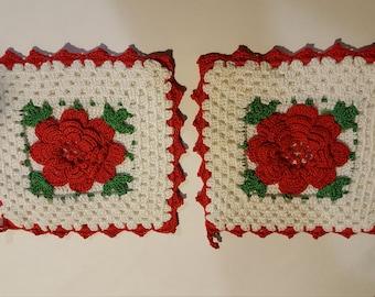 Pair of vintage crochet trivet or pot holders